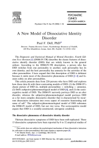 A New Model of Dissociative Identity Disorder