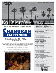 Kol Yisra`el The Voice of Temple Israel Friday, December 23 ~ 7:00 pm