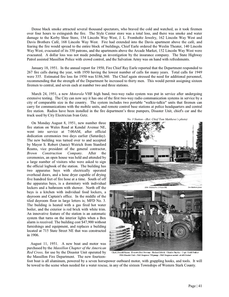 Massillon Fire Department History Part 3