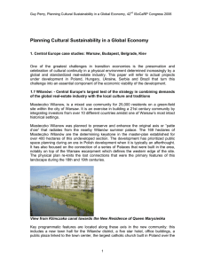 Planning Cultural Sustainability in a Global Economy