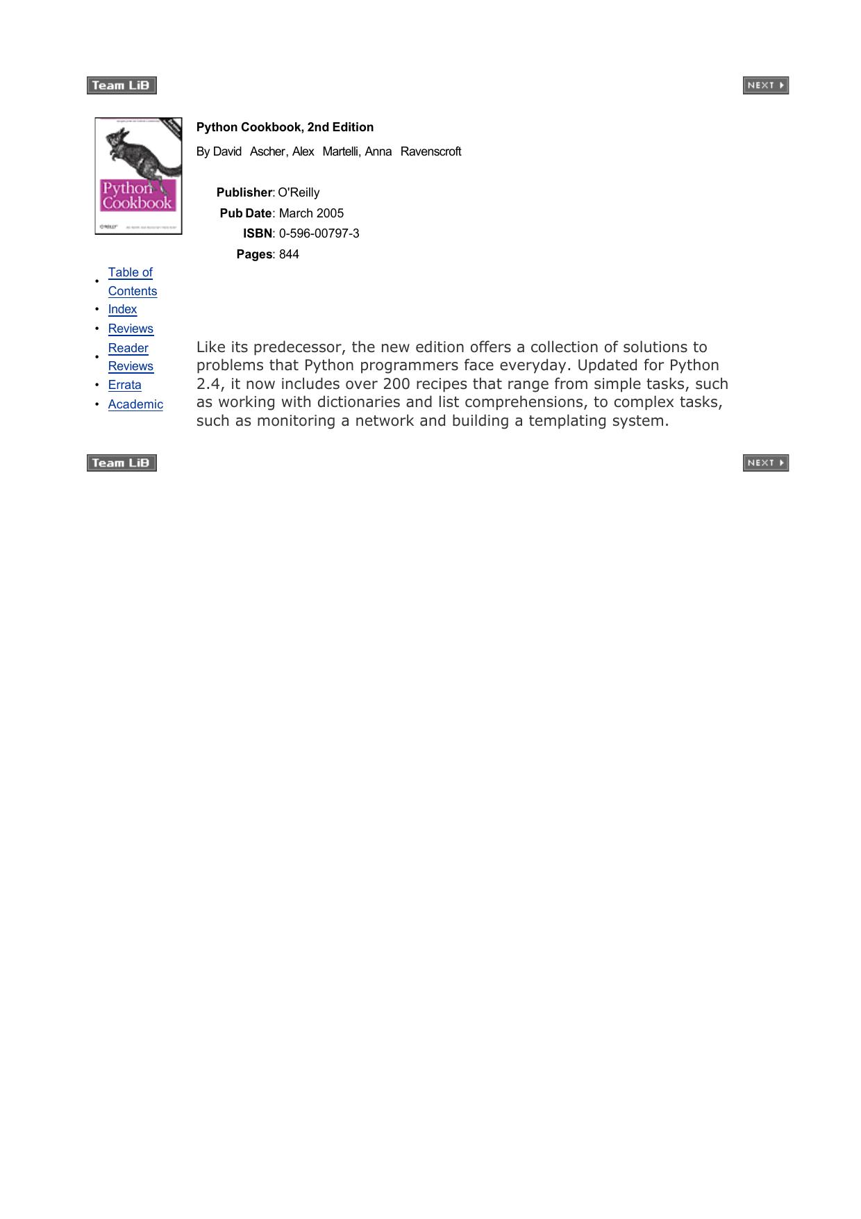 Python Cookbook 2nd Edition 2005