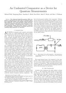 An Unshunted Comparator as a Device for Quantum Measurements