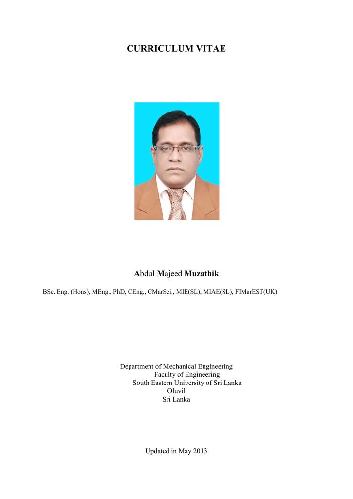 Curriculum Vitae South Eastern University Of Sri Lanka