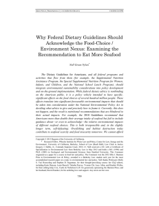 Why Federal Dietary Guidelines Should Acknowledge the Food-Choice /