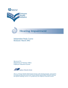 Independent Study Course Released: March 2002 Sponsored by Department of Veterans Affairs