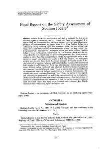 Final Report on the Safety Assessment of Sodium Iodate