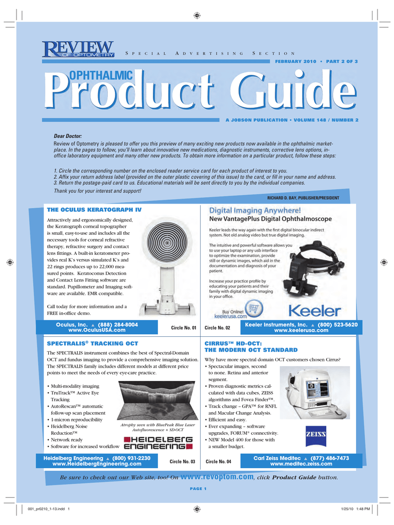 OPHTHALMIC Product Guide