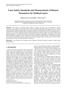 Laser Safety Standards and Measurements of Hazard Parameters