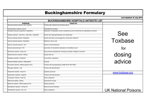 See Toxbase dosing advice - Buckinghamshire Formulary