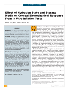 Effect of Hydration State and Storage Media on Corneal
