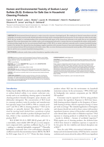 Human and Environmental Toxicity of Sodium Lauryl Sulfate (SLS