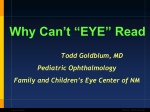 "'t ""EYE"" Read Why Can  Todd Goldblum, MD"