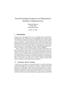 Social Psychology Perspective on Dating and its Relation to Dating
