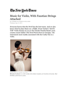 Music for Violin, With Faustian Strings Attached