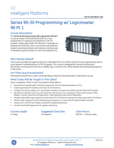 Series 90-30 Programming with Logicmaster Part 1