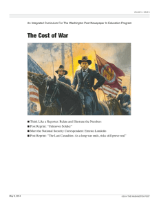 The Cost of War - Newspaper In Education