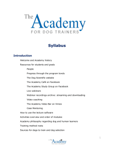 Syllabus - Academy For Dog Trainers