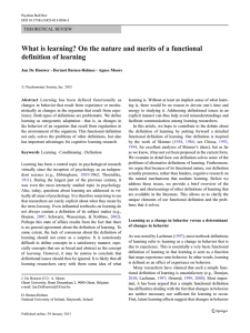 What is learning? On the nature and merits of a... definition of learning THEORETICAL REVIEW