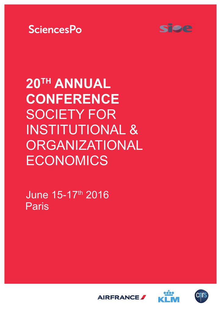 Program - International Society for New Insutional Economics on