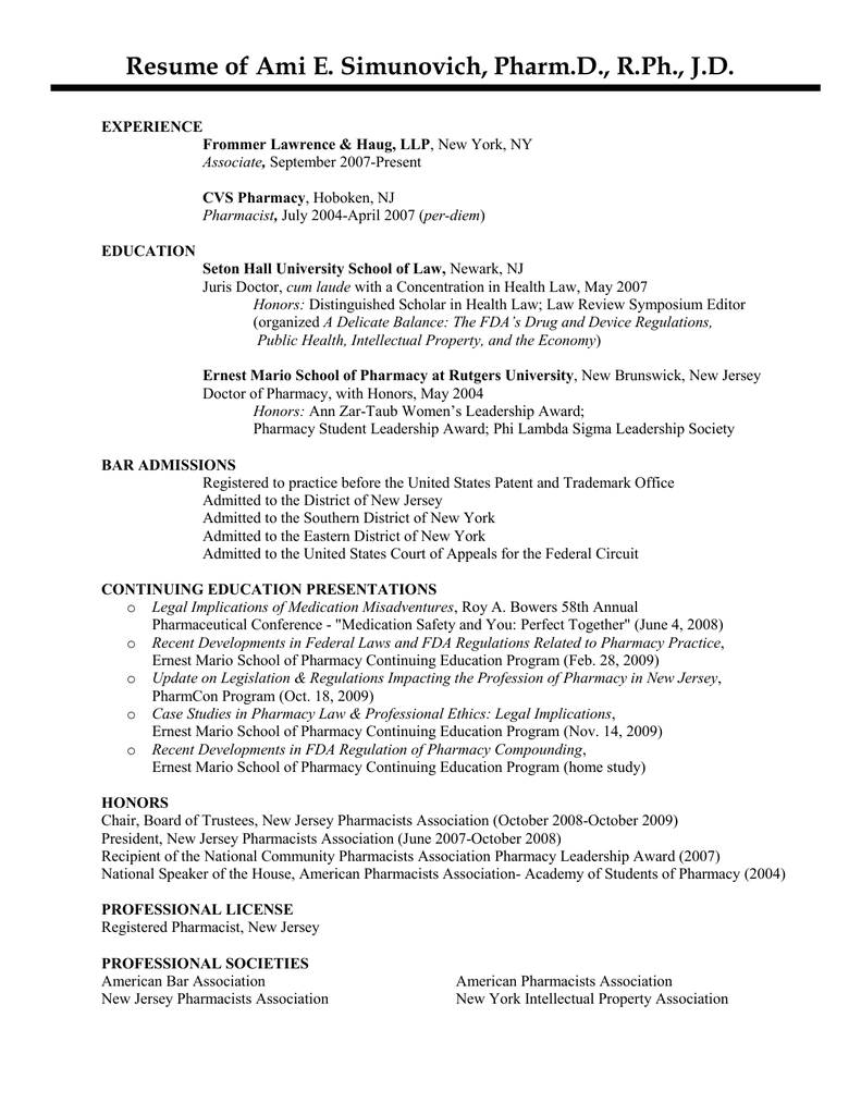 Old Fashioned Pharmacy School Resume Gift - Resume Template Samples ...