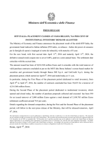 pdf The Treasury press release on the placement of BTp Italia
