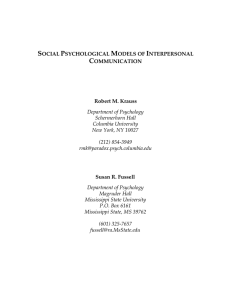 Social Psychological Models Of Interpersonal