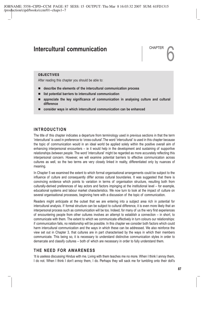 describe the elements of the intercultural communication