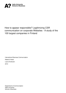 How to appear responsible? Legitimizing CSR 100 largest companies in Finland