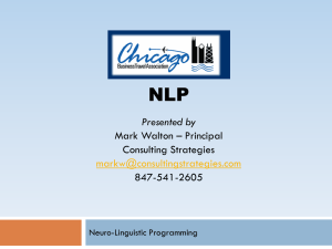 NLP Presented by Mark Walton – Principal Consulting Strategies