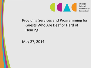 Providing Services and Programming for Hearing May 27, 2014
