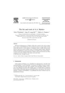 The life and work of A.A. Markov
