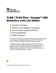 TI-89 / TI-92 Plus / Voyage™ 200 Statistics with