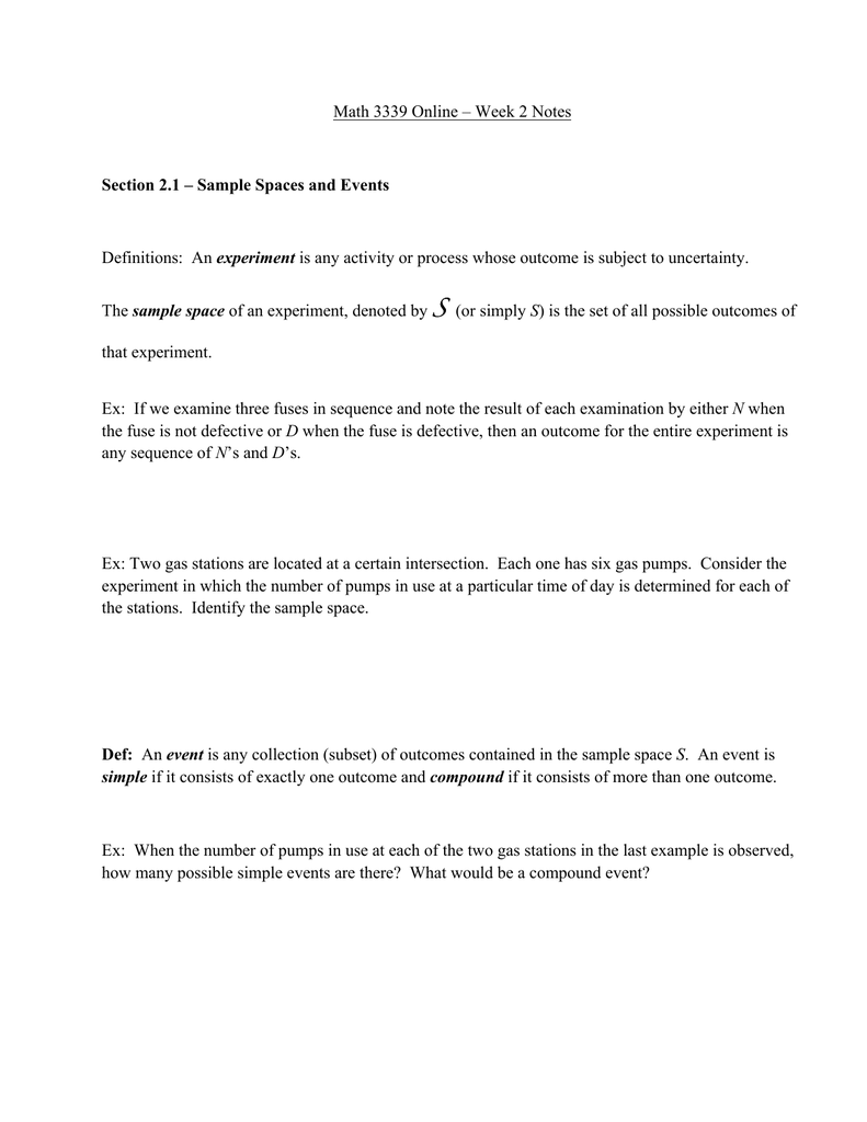 Math 3339 Online Week 2 Notes Experiment Sample Space