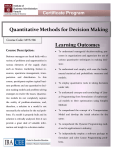 Quantitative Methods for Decision Making - IBA - CEE