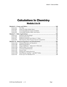 Calculations In Chemistry Modules 8 to 10
