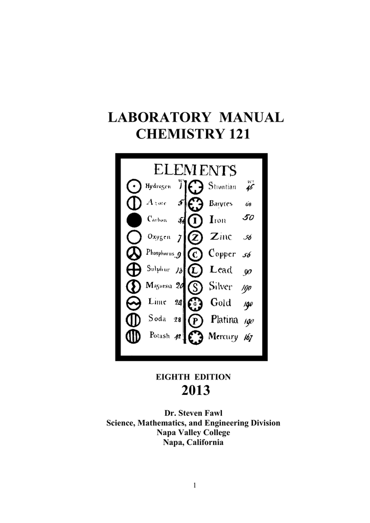 LABORATORY MANUAL CHEMISTRY 121 2013