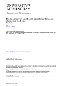 The sociology of traditional, complementary and alternative medicine  Gale, Nicola