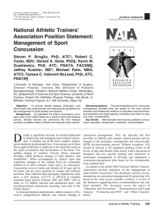 Management of Sport Concussion - National Athletic Trainers