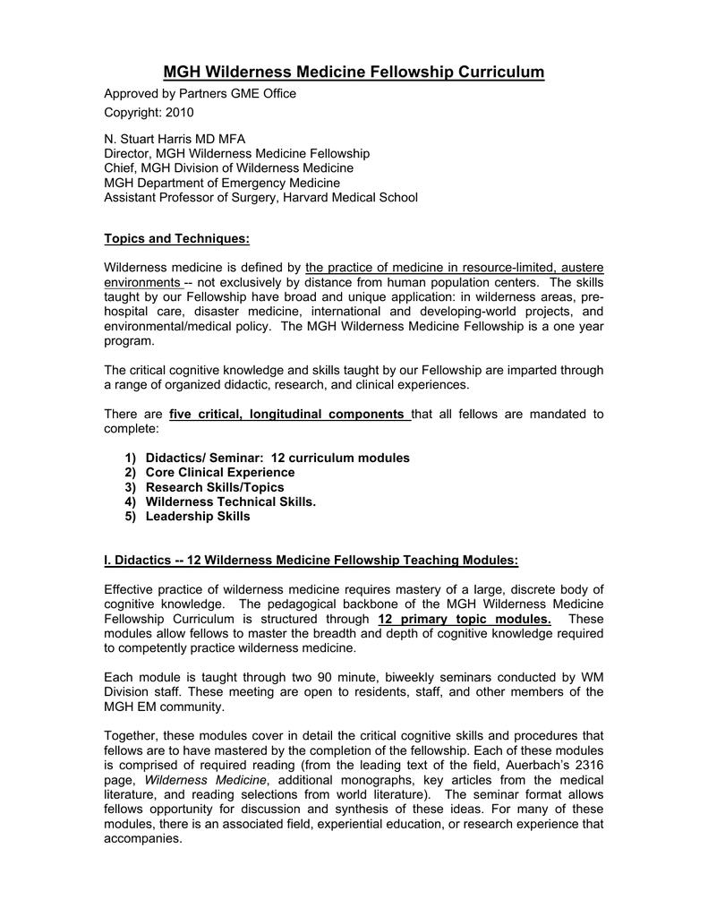 MGH Wilderness Medicine Fellowship Curriculum