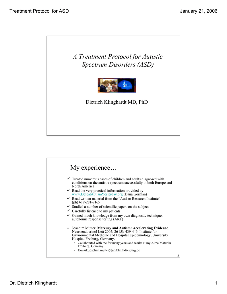 Treatment Protocol for ASD