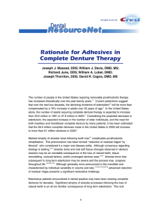 Rationale for Adhesives in Complete Denture Therapy