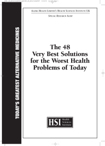 The 48 Very Best Solutions for the Worst Health Problems of Today