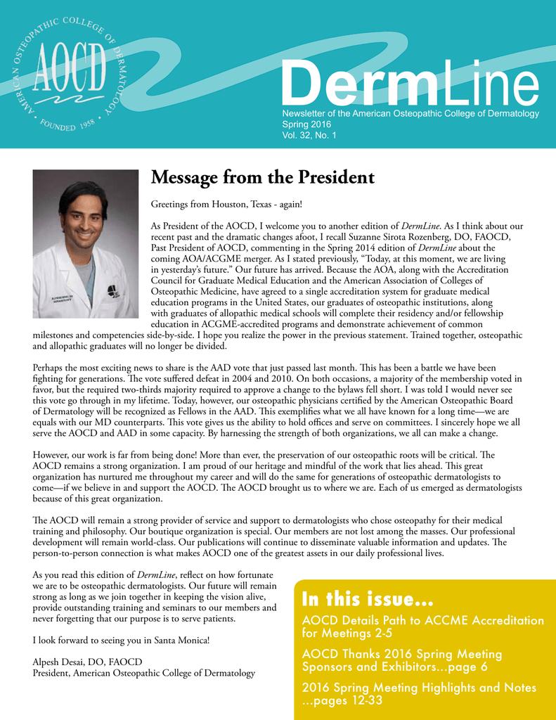 DermLine - American Osteopathic College of Dermatology