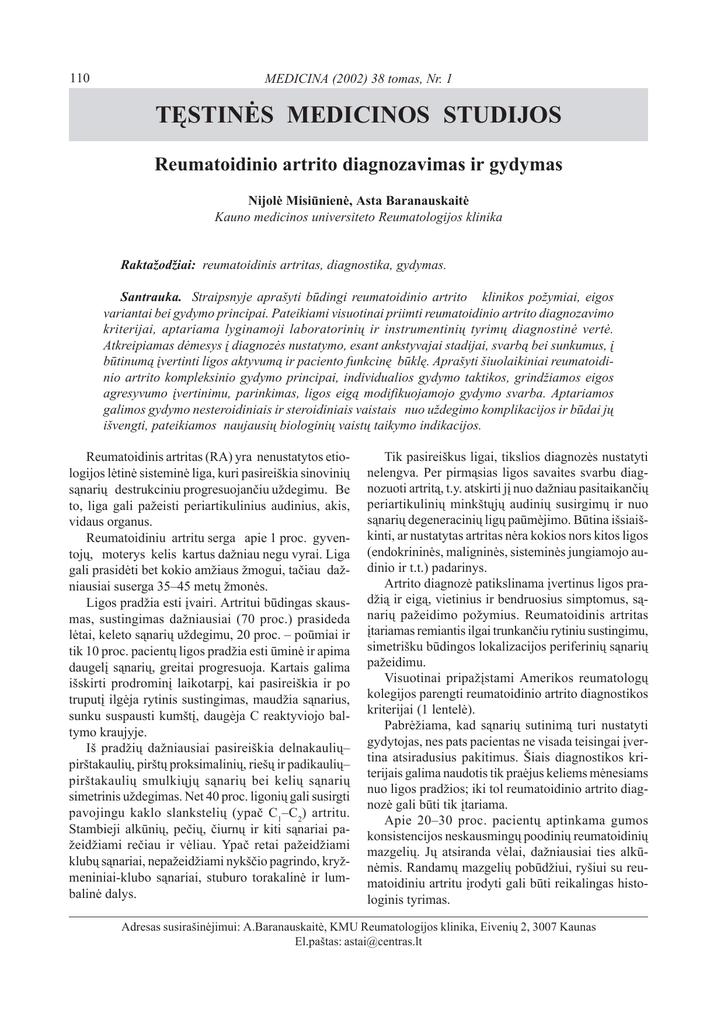 Reumatoidinio artrito kompleksinio gydymo ypatumai | ingridasimonyte.lt