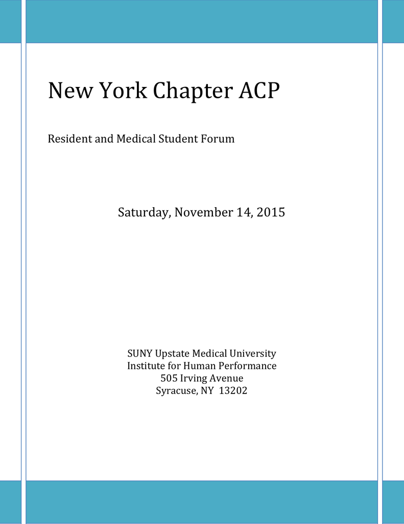 New York Chapter ACP Resident and Medical Student Forum