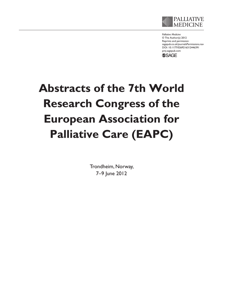 Abstracts of the 7th World Research Congress of the European