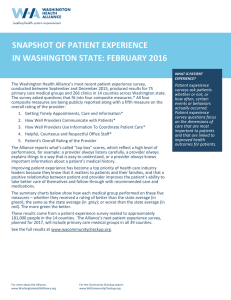 snapshot of patient experience in washington state: february 2016