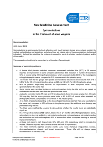 New Medicine Assessment – Spironolactone in Acne