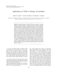 Applications of TMS to Therapy in Psychiatry