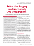 Refractive Surgery in a Functionally One-eyed Patient?